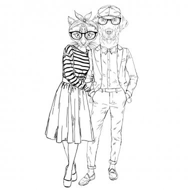 hipsters cat and dog couple