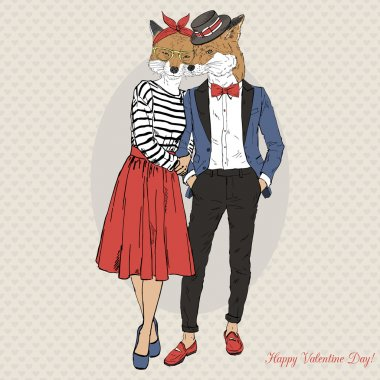 hipster fox couple