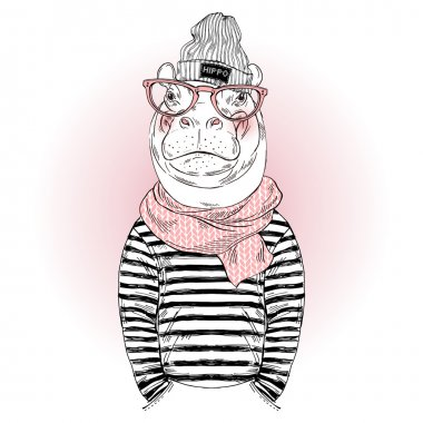 Hippo hipster in frock and scarf