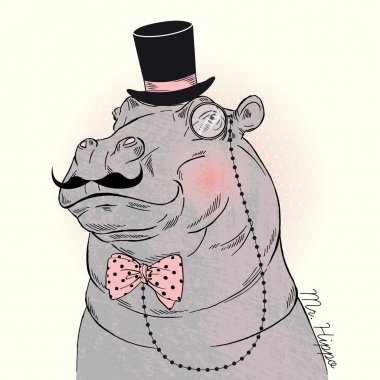 Hippo gentleman in tall hat