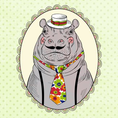Hippo in boater hat and tie