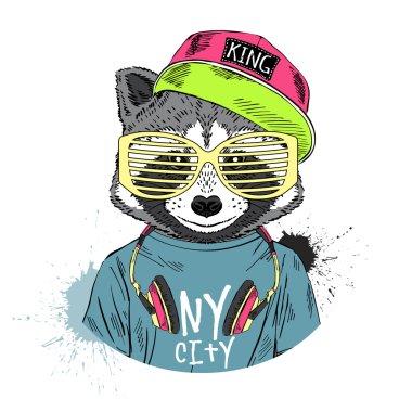 Raccoon boy in hip hop style