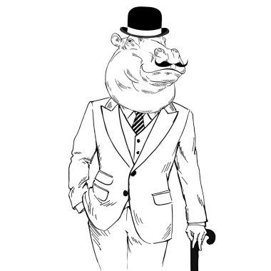 Hippo man in tweed suit