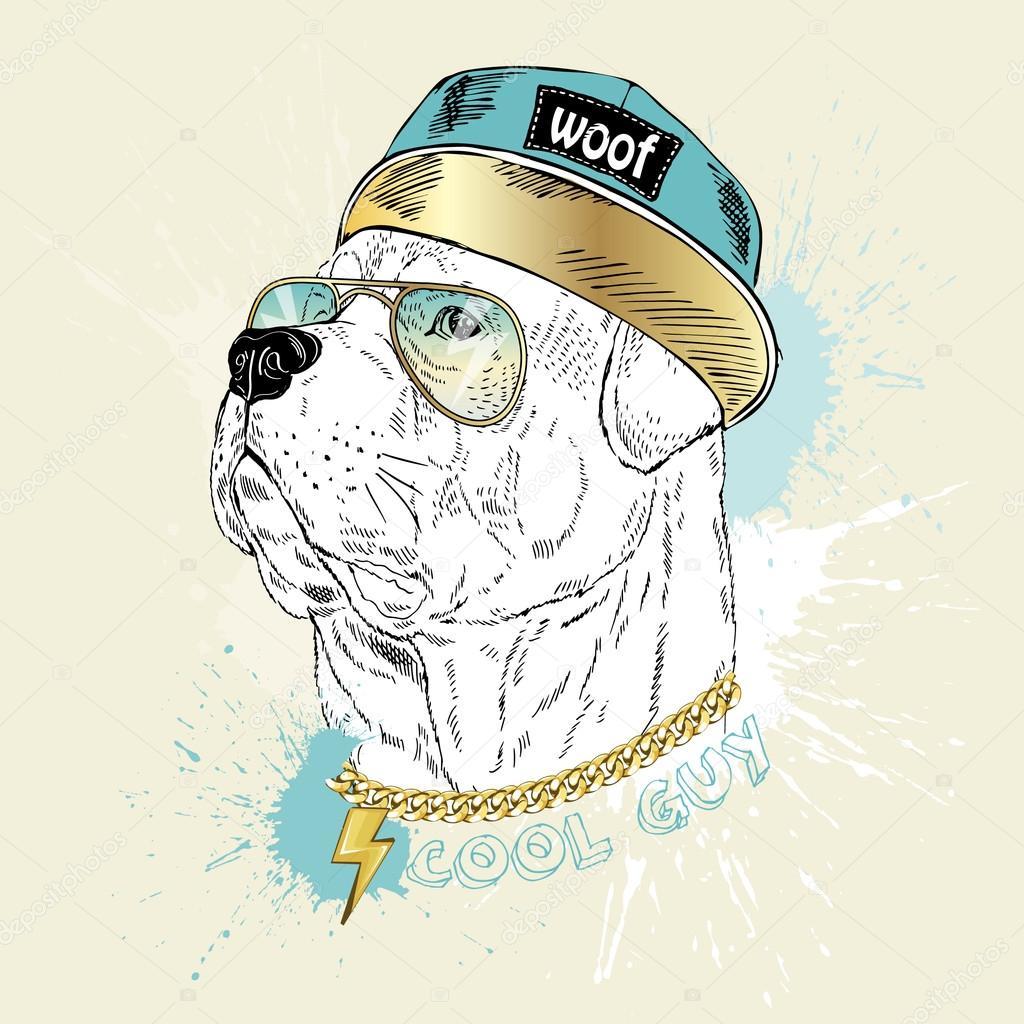 Ротвейлер собаки хип-хоп стиль — Векторное изображение ...