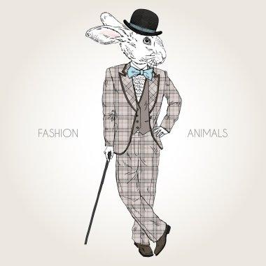 rabbit dressed up in retro style