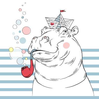 hippo sailor graphic