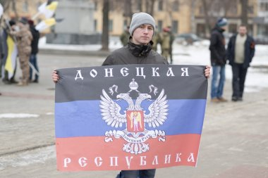 Pro-Putin provoker at the rally dedicated to Boris Nemtsov murder, Voronezh, Russia.