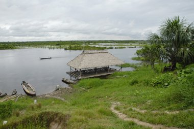 Public pier of Padre Cocha village,  Peruvian Amazon.
