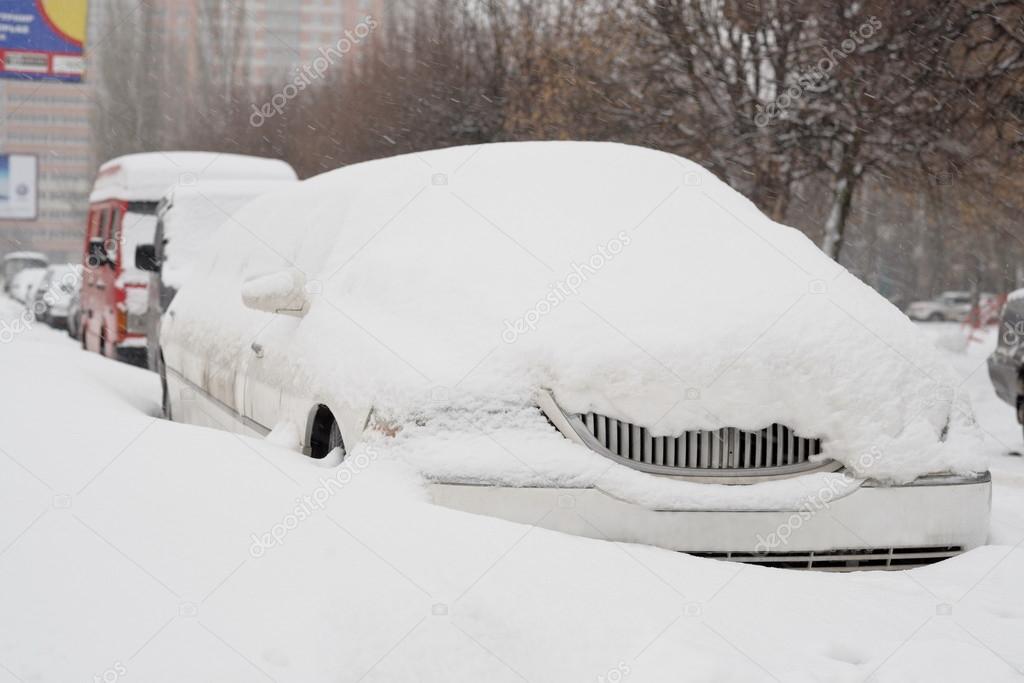 Limousine after a snow storm, Russia.