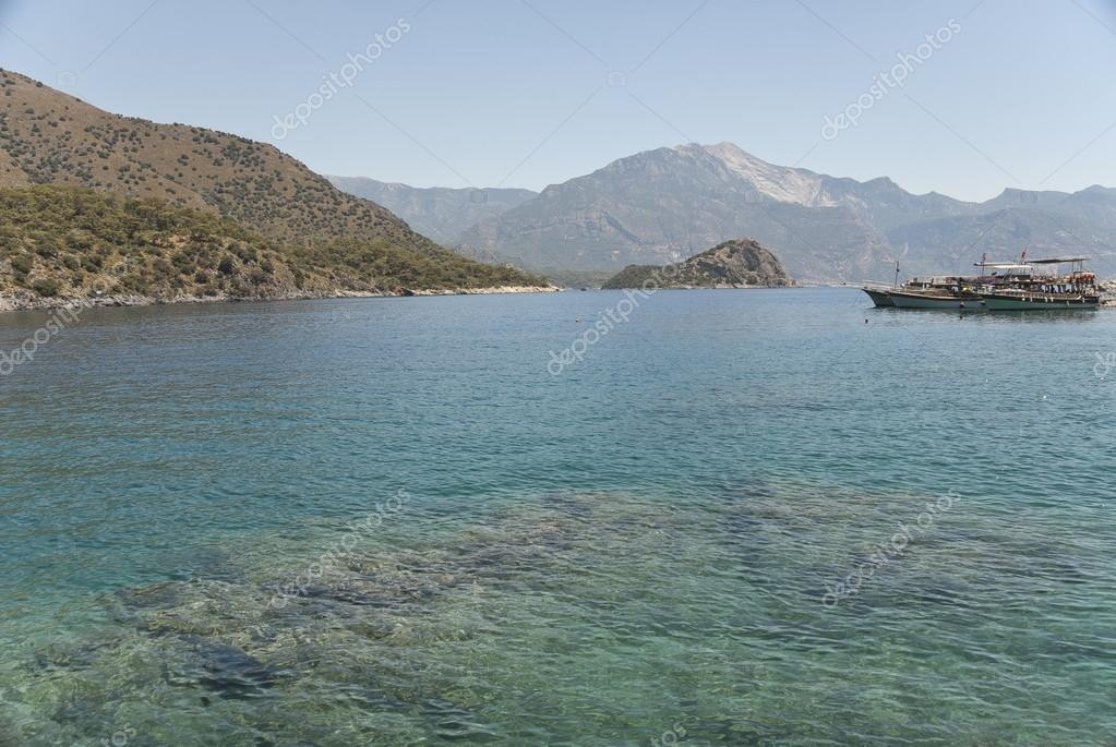 Coastal landscape near Gemiler, Turkey.
