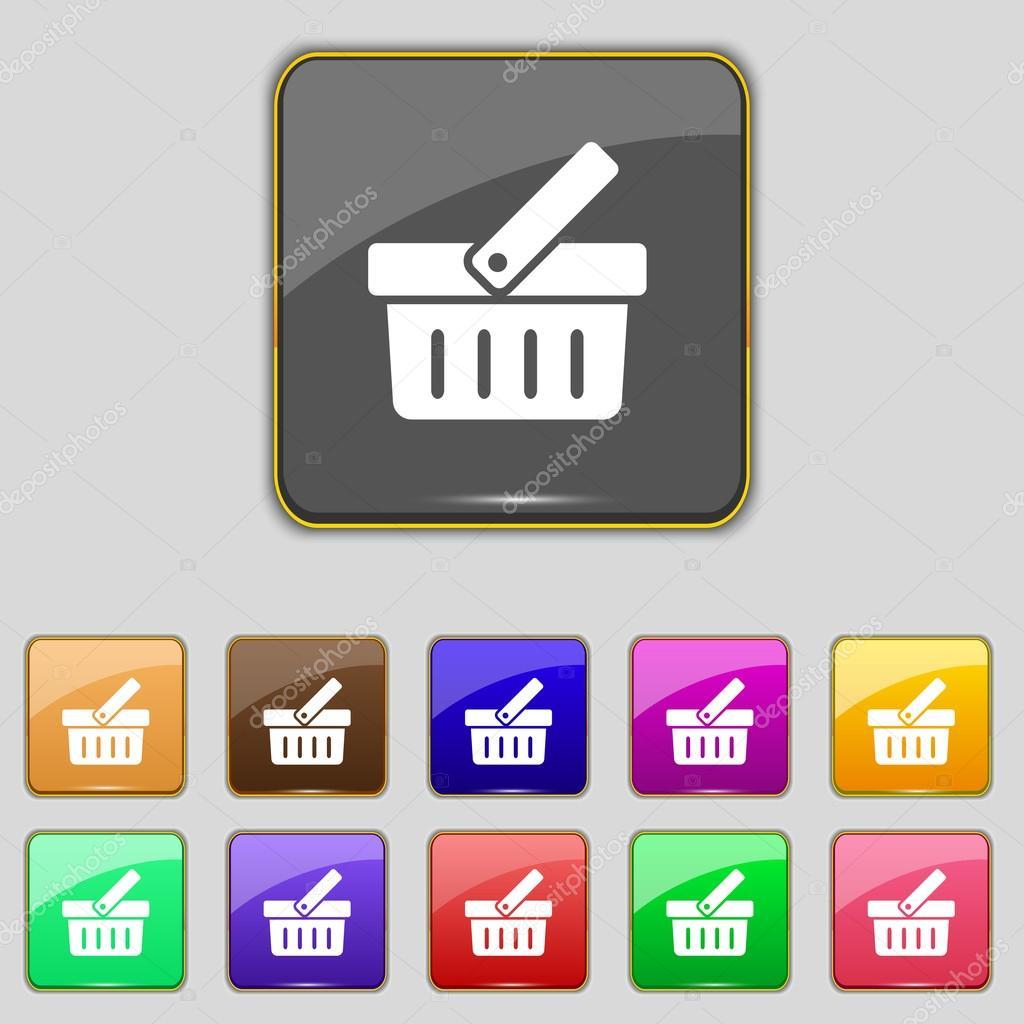 ic ne de signe de panier de magasinage bouton d 39 achat en ligne fixer les boutons color s. Black Bedroom Furniture Sets. Home Design Ideas