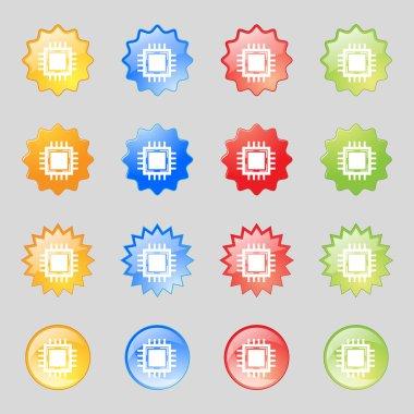 Central Processing Unit Icon. Technology scheme circle symbol. Set colourful buttons. Vector