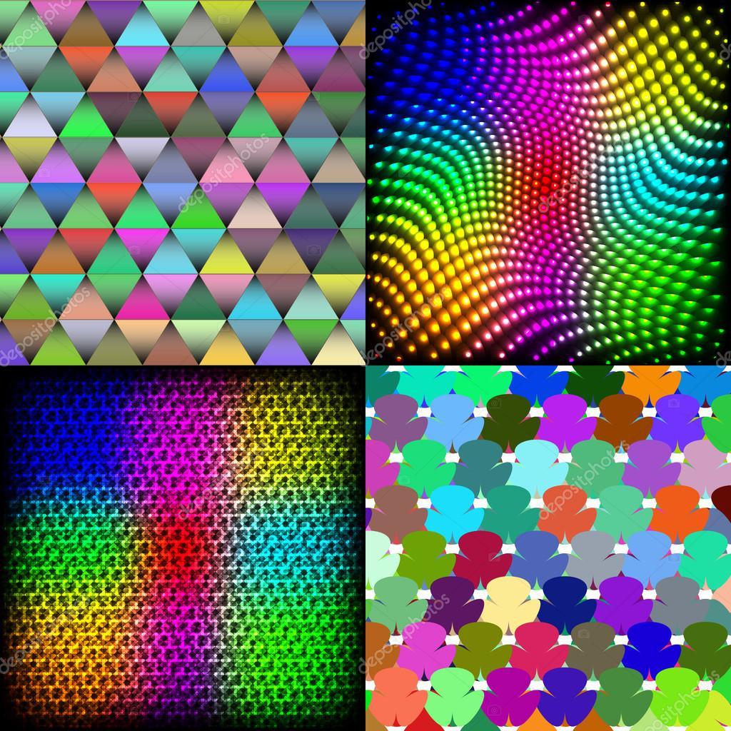Set Di Astratta Arcobaleno Colorato Piastrelle Sfondo Pattern Di Mosaico Pittura  Geometrica Tavolozza. Vector U2014
