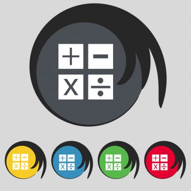 Multiplication, division, plus, minus icon Math symbol Mathematics Set of colour buttons Vector illustration clip art vector