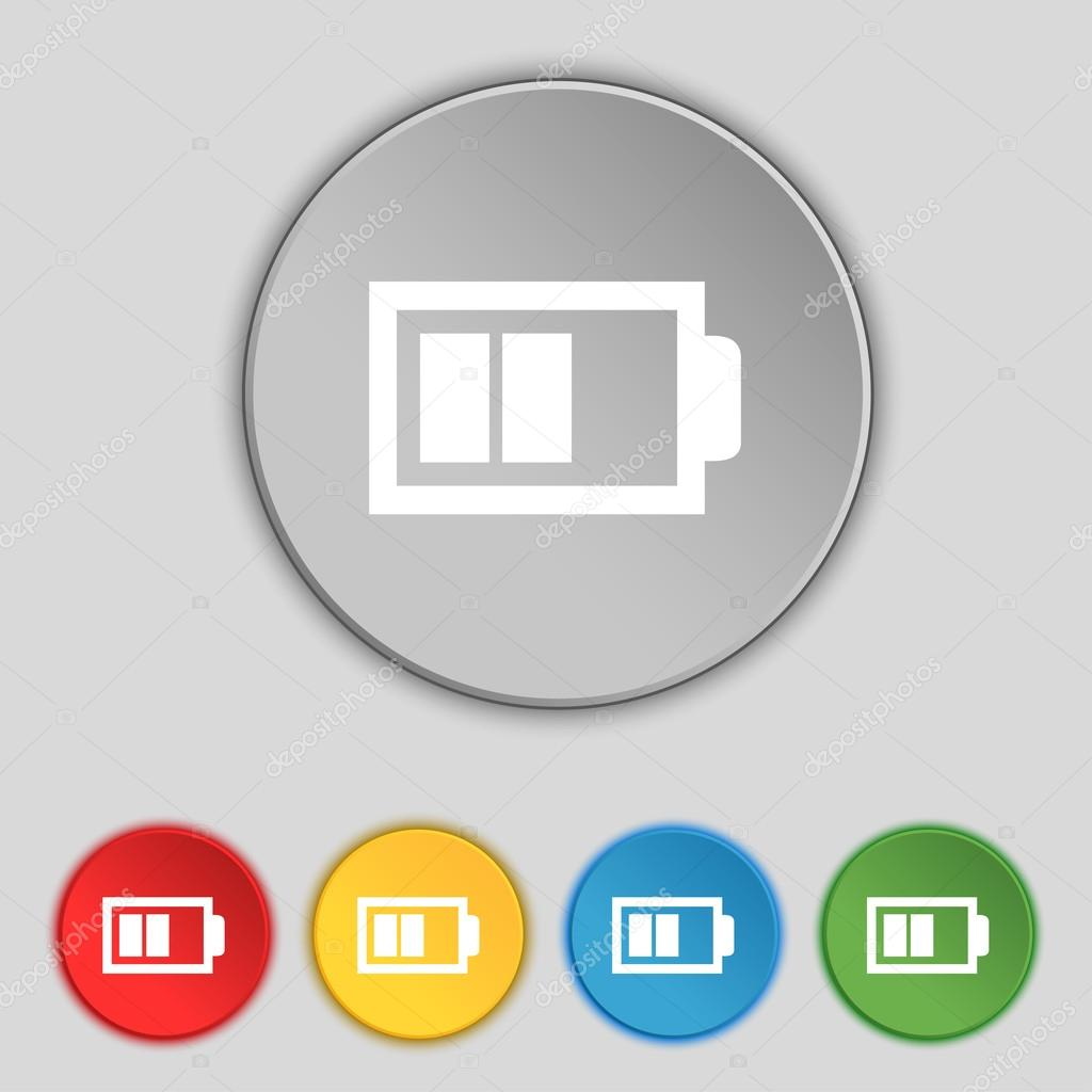 Battery half level sign icon. Low electricity symbol. Set of colour ...