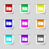 fotografie fotoaparát ikona podepsat. Digitální symbol. sada barevných tlačítek. vektor