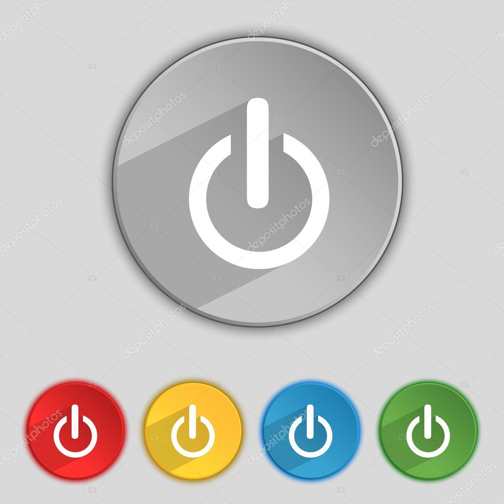Power sign icon. Switch symbol. Turn on energy. Set of colourful ...