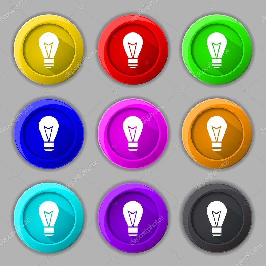 ic ne de lampe de signe symbole de l 39 id e lightis sur ensemble de boutons de couleur vector. Black Bedroom Furniture Sets. Home Design Ideas