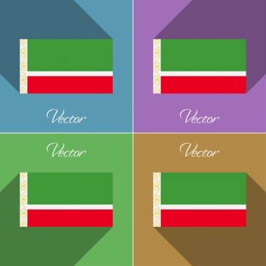 Flags Chechen Republic. Set of colors flat design and long shadows. Vector
