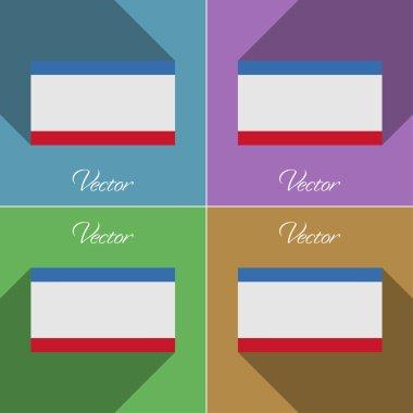 Flags Crimea. Set of colors flat design and long shadows. Vector
