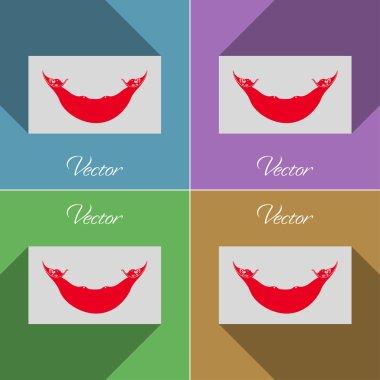 Flags Eaaster Rapa Nui. Set of colors flat design and long shadows. Vector