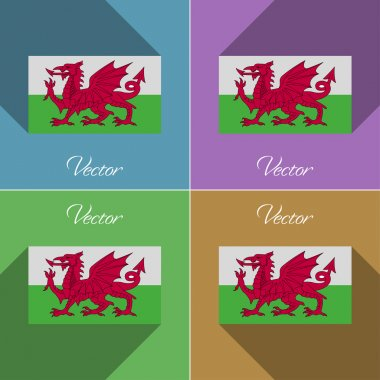 Flags Wales. Set of colors flat design and long shadows. Vector