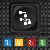 Zeichen für das lokale Netzwerk-Symbol. Symbol quadratische bunte Knöpfe auf schwarzer Textur. Vektor