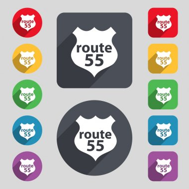 Route 55 highway icon sign. A set of 12 colored buttons and a long shadow