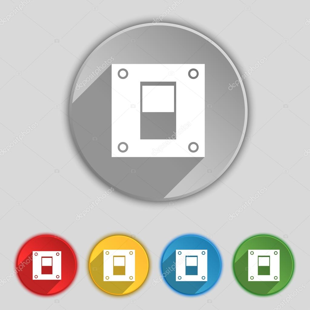 Power switch icon sign. Symbol on five flat buttons. Vector — Stock ...
