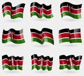 Photo Set of Kenya flags in the air. Vector