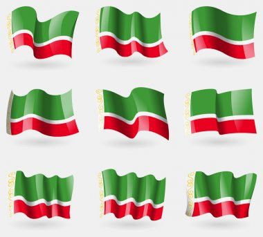 Set Chechen Republic flags in the air. Vector
