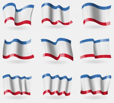 Set of Crimea flags in the air. Vector