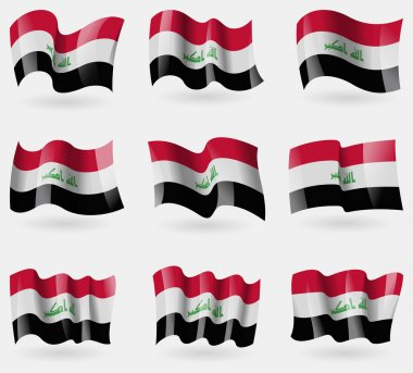 Set of Iraq flags in the air. Vector