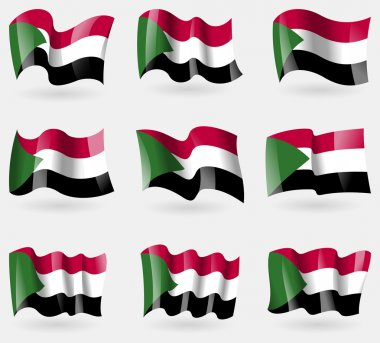 Set of Sudan flags in the air. Vector