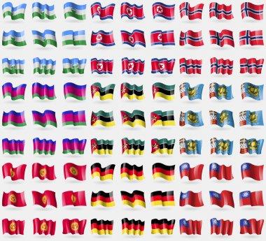 KabardinoBalkaria, North Korea, Norway, Kuban Republic, Mozambique, Saint Piere and Miquelon, Kyrgyzstan, Germany, MyanmarBurma. Big set of 81 flags. Vector