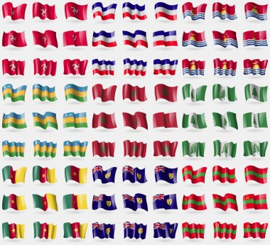 Isle of man, Los Altos, Kiribati, Karakalpakstan, Morocco, Norfolk Islands, Cameroon, Turks and Caicos, Transnistria. Big set of 81 flags. Vector