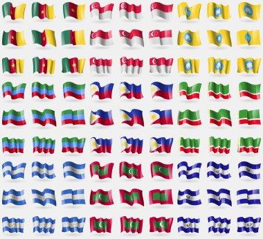 Cameroon, Singapore, Kalmykia, Dagestan, Philippines, Chechen Republic, Nicaragua, Maldives, El Salvador. Big set of 81 flags. Vector