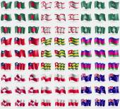 Photo Bangladesh, Turkish Northern Cyprus, Macau, Taiwan, Togo, Kuban Republic, Greenland, Polen, Australia. Big set of 81 flags. Vector