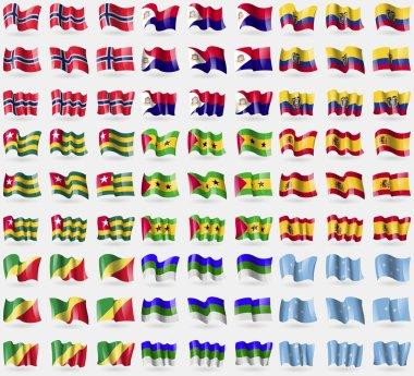 Norway, Saint Martin, Ecuador, Togo, Sao Tome and Principe, Spain, Congo Republic, Komi, Micronesia. Big set of 81 flags. Vector