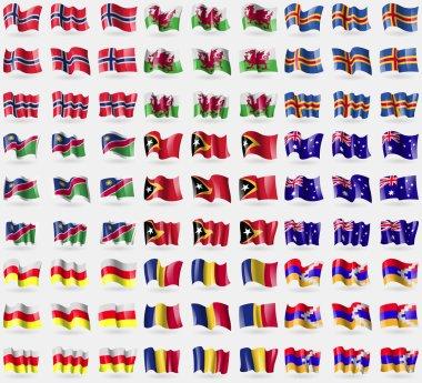 Norway, Wales, Aland, Namibia, East Timor, Australia, North Ossetia, Romania, Karabakh Republic. Big set of 81 flags. Vector