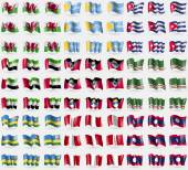 Fotografie Wales, Tuva, Cuba, United Arab Emirates, Antigua and Barbuda, Chechen Republic of Ichkeria, Rwanda, Peru, Laos. Big set of 81 flags. Vector
