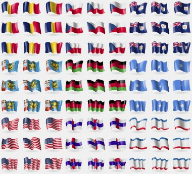 Chad, Czech Republic, Anguilla, Saint Pierre and Miquelon, Malawi, Somalia, USA, Netherlands Antilles, Crimea. Big set of 81 flags. Vector