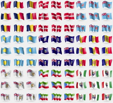 Chad, Military Order Malta, Fiji, Palau, Falkland Islands, Andorra, British Antarctic Territory, Equatorial Guinea, Bosnia and Herzegovina Federation. Big set of 81 flags. Vector