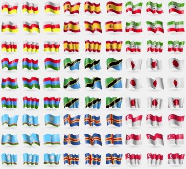 North Ossetia, Spain, Somaliland, Karelia, Tanzania, Japan, Sakha Republic, Aland, Singapore. Big set of 81 flags. Vector