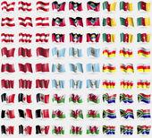 Fotografie Austria, Antigua and Barbuda, Cameroon, Morocco, Guatemala, North Ossetia, Udmurtia, Wales, South Africa. Big set of 81 flags. Vector