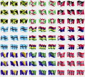 Fotografie Jamaica, Burundi, Antigua and Barbuda, Botswana, Mauritius, Saint Martin, Bosnia and Herzegovina, Christmas Island, Norway. Big set of 81 flags. Vector
