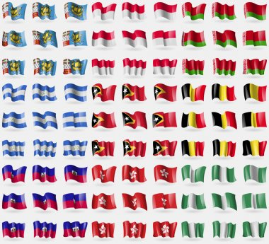 Saint Pierre and Miquelon, Monaco, Belarus, Nicaragua, East Timor,  Belgium, Haiti, Hong Kong, Nigeria. Big set of 81 flags. Vector