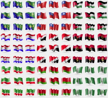 Christmas Island, MyanmarBurma, Jordan, Mordovia, Sealand Principality, Angola, Chechen Republic, Belarus, Norfolk Island. Big set of 81 flags. Vector