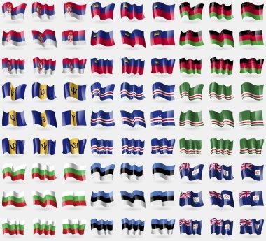 Serbia, Liechtenstein, Malawi, Barbados, Cape Verde, Chechen Republic of Ichkeria, Bulgaria, Estonia, Anguilla. Big set of 81 flags. Vector