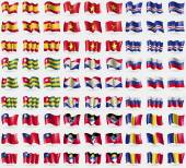 Fotografie Spain, Vietnam, Cape Verde, Togo, Saba, Russia, Taiwan, Antigua and Barbuda, Romania. Big set of 81 flags. Vector